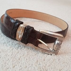 Brighton brown animal print leather belt